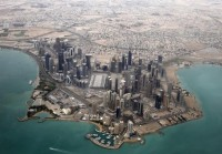An aerial view shows Doha's diplomatic area